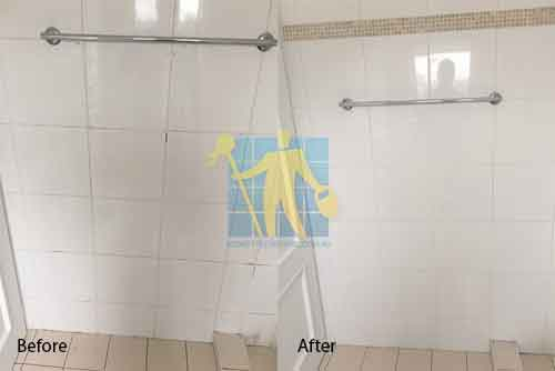 before and after ceramic bathrooom regrouting Sydney
