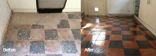 before and after red and black Victorian quarry tiles replaced