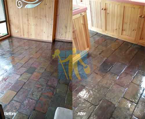 before and after slate floor sealing