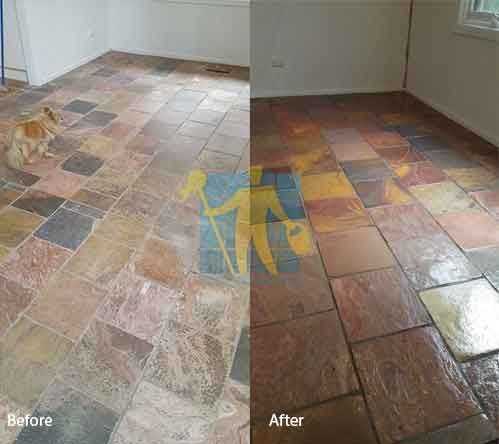 before and after slate sealing