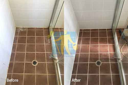 before and after terracotta grout cleaning