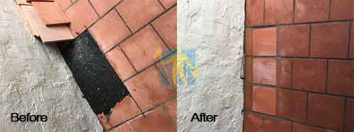 before and after terracotta tile repair