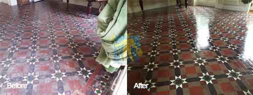 Victorian tile floor cleaning before and after
