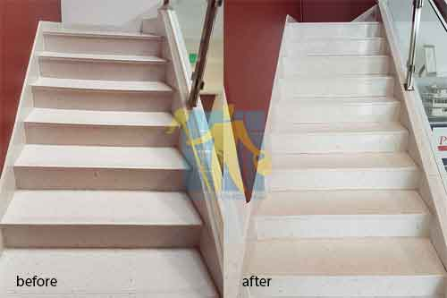 before and after cleaning sandstone stairs The Hills
